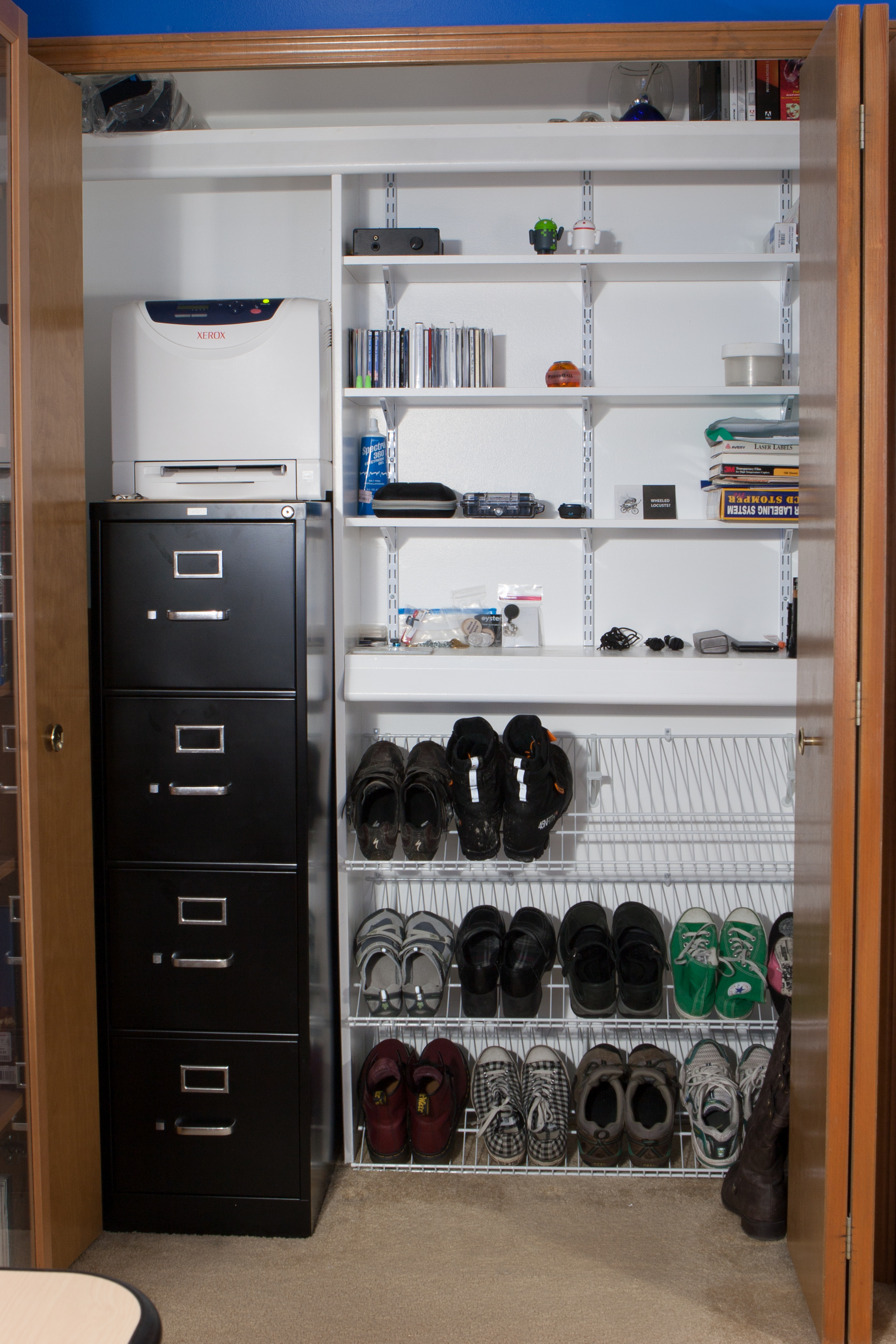The Closet After Redoing It With A New Filing Cabinet