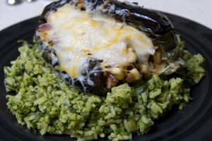 Charred Chili Relleno w/ Green Rice